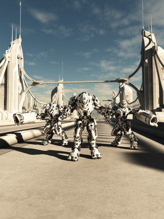 road warrior: Science fiction illustration of a group of alien battle robots defending a bridge, 3d digitally rendered illustration Stock Photo
