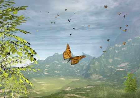 verdant: Illustration of a swarm of Monarch butterflies in a green landscape, 3d digitally rendered illustration