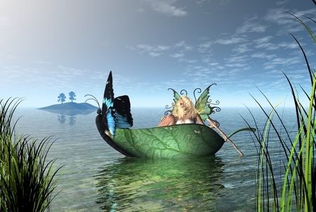 Fantasy illustration of a fairy rowing a butterfly boat on a quiet lake, 3d digitally rendered illustration Stock Photo