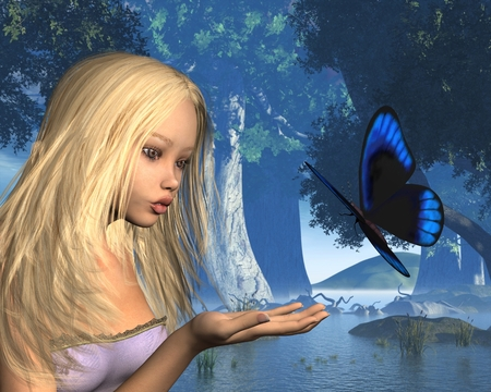 water nymph: Fantasy illustration of a woodland scene with a blue butterfly about to land on a water nymphs hand, 3d digitally rendered illustration