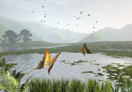 swallowtail: Illustration of a swarm of swallowtail butterflies over a quiet lake, 3d digitally rendered illustration