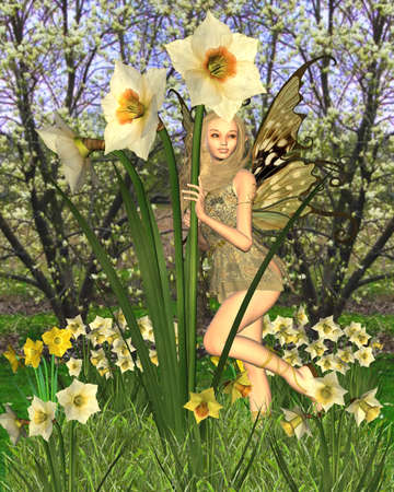 fey: Fantasy illustration of a pretty blonde fairy surrounded by yellow spring daffodils, 3d digitally rendered illustration