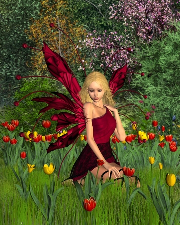 fey: Fantasy illustration cute blonde fairy surrounded by red and yellow tulips, 3d digitally rendered illustration