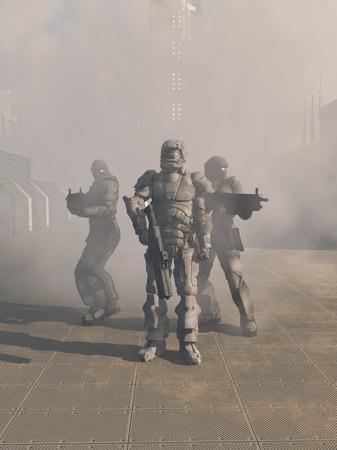 デジタル未来都市、3 d の通りに霧の中から進んで重い鎧で、未来に 3 つの宇宙海兵隊のグループの空想科学小説イラスト表示の図