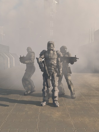 Science fiction illustration of a group of three futuristic Space Marines in heavy armour advancing from the mist in the street of a future city, 3d digitally rendered illustration