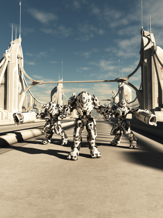 mechanized: Science fiction illustration of a group of alien battle robots defending a bridge, 3d digitally rendered illustration Stock Photo