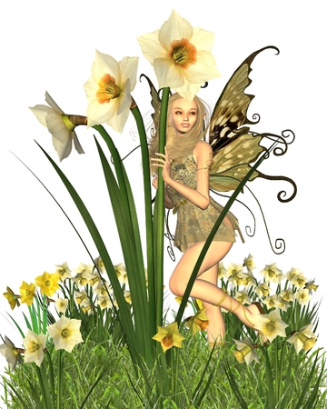 Fantasy illustration of a pretty blonde fairy surrounded by yellow spring daffodils, 3d digitally rendered illustration