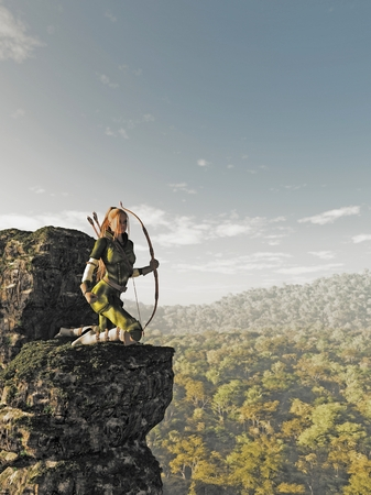 elf: Fantasy illustration of a blonde female elf archer with bow and arrows dressed in green and brown, kneeling on a rocky cliff and keeping watch above the forest, 3d digitally rendered illustration