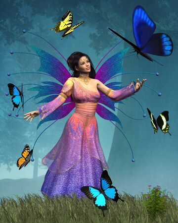 enchanted forest: Fantasy illustration of a Fairy Queen of the Butterflies in an enchanted forest, 3d digitally rendered illustration