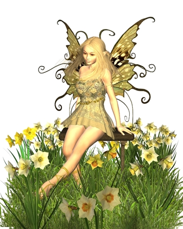 fey: Fantasy illustration of a pretty blonde fairy sitting on a bench surrounded by yellow spring daffodils, 3d digitally rendered illustration Stock Photo