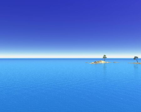 cloudless: Illustration of a tropical sea with distant islands and palm trees, 3d digitally rendered illustration