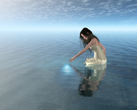 Fantasy illustration of a Water Nymph looking at her reflection in a calm lake, 3d digitally rendered illustration