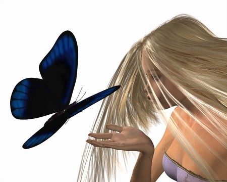 Fantasy illustration of a blue butterfly about to land on a nymphs hand, 3d digitally rendered illustration Stock Photo