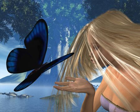 clearing: Fantasy illustration of a woodland scene with a blue butterfly about to land on a water nymphs hand, 3d digitally rendered illustration