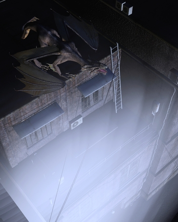 moonlit: Fantasy illustration of a dragon keeping watch above the city streets at night with moonlit lighting, 3d digitally rendered illustration