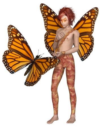 monarch butterfly: Fantasy illustration of a Monarch butterfly and red haired fairy boy with monarch butterfly wings, 3d digitally rendered illustration