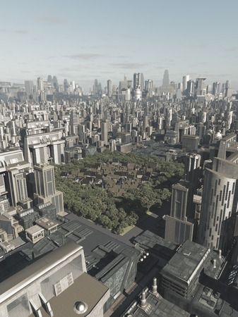 towerblock: Science fiction illustration of the buildings of an old Medieval town hidden in the middle of a future city, 3d digitally rendered illustration