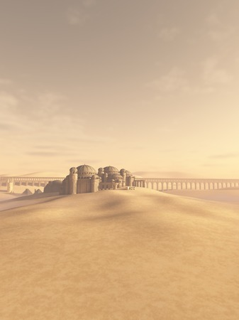 Fantasy science fiction illustration of a distant town and aqueduct swallowed by the desert sand, 3d digitally rendered illustration illustration