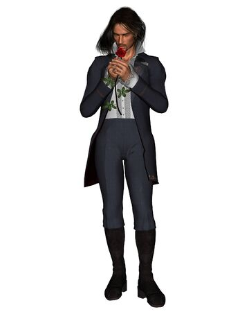 stubble: Illustration of a romantic young man holding a red rose, standing, 3d digitally rendered illustration Stock Photo