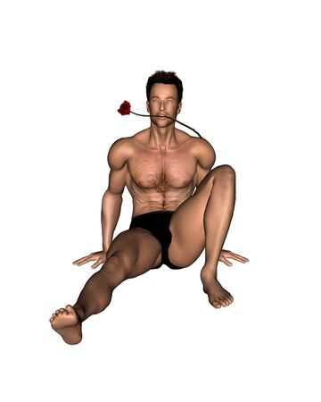 Illustration of a sexy young man with a rose between his teeth, sitting, 3d digitally rendered illustration