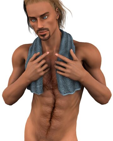 stubble: Illustration of a young man wearing a blue towel around his neck, 3d digitally rendered illustration