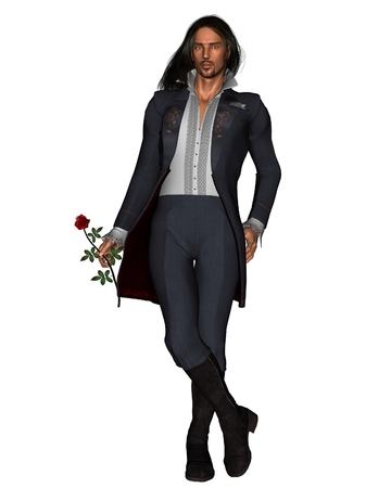 man with long hair: Illustration of a romantic young man holding a red rose, standing, 3d digitally rendered illustration Stock Photo