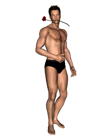 sexy muscular man: Illustration of a sexy young man with a rose between his teeth, standing, 3d digitally rendered illustration