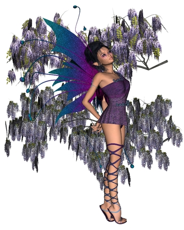 fey: Fantasy illustration of a fairy with purple Wisteria, 3d digitally rendered illustration