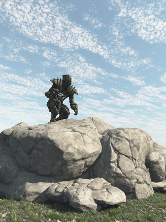 scifi: Science fiction illustration of an alien warrior scouting an enemy planet, 3d digitally rendered illustration Stock Photo