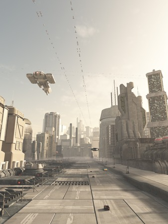 Science fiction illustration of a future city street with space cruiser and other aerial traffic overhead in hazy sunshine, 3d digitally rendered illustration Foto de archivo