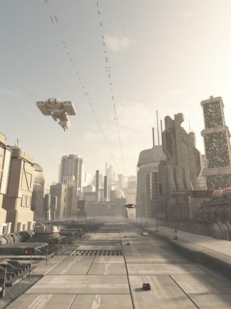 Science fiction illustratie van een toekomstige stad straat met ruimte cruiser en andere luchtverkeer overhead in wazige zon, 3d digitaal teruggegeven illustratie