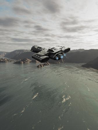 raumschiff: Science-Fiction-Illustration von einem Raumschiff fliegen �ber den Ozean auf einem fremden Planeten, 3d digital gerenderten Bild Lizenzfreie Bilder