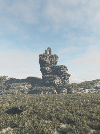 rocky: Fantasy illustration of a ruined stone tower standing on a rocky cliff outcrop, 3d digitally rendered illustration Stock Photo