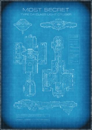 raumschiff: Science-Fiction-Illustration der streng geheimen Raumschiff-Modell mit Zeichnungen und Text, 3d digital gerenderten Bild Lizenzfreie Bilder