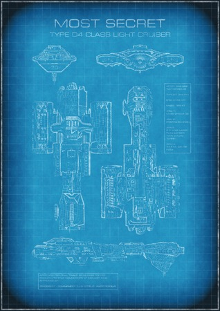 starship: Science fiction illustration of top secret spaceship blueprint with designs and text, 3d digitally rendered illustration