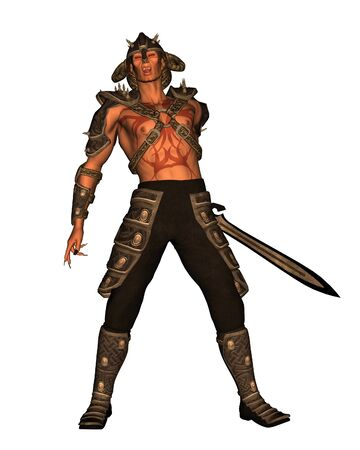 swordsman: Fantasy illustration of a Demon warrior with sword 3d digitally rendered illustration