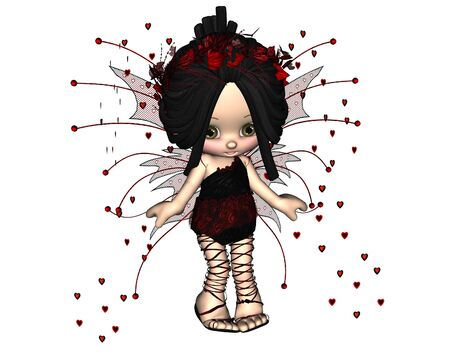 toon: Cute toon Valentines Day fairy with heart shaped confetti 3d digitally rendered illustration