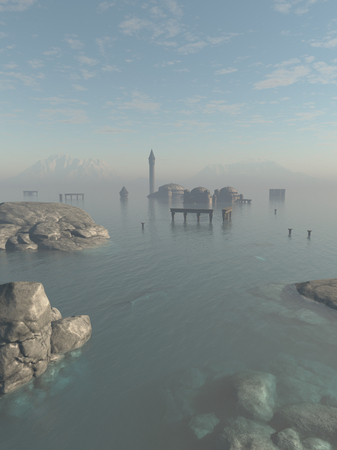 Fantasy illustration of the drowned ruins of the lost city of Atlantis in the ocean 3d digitally rendered illustration