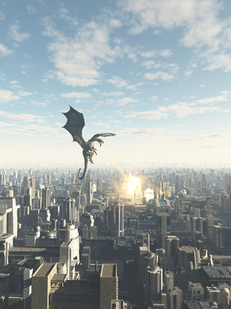 Science fiction or fantasy illustration of a dragon making a fiery attack on a future city 3d digitally rendered illustration