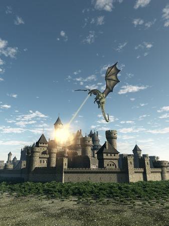 Fantasie illustratie van een draak die een vurige aanval op een middeleeuwse ommuurde stad 3d digitaal teruggegeven illustratie Stockfoto
