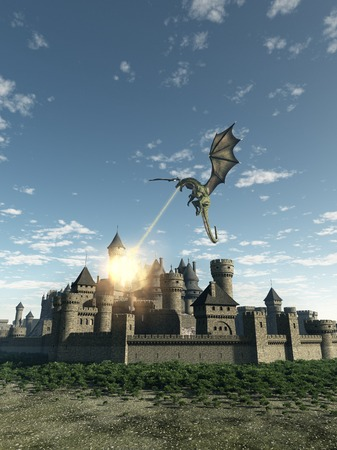 flying dragon: Fantasy illustration of a dragon making a fiery attack on a Medieval walled city 3d digitally rendered illustration