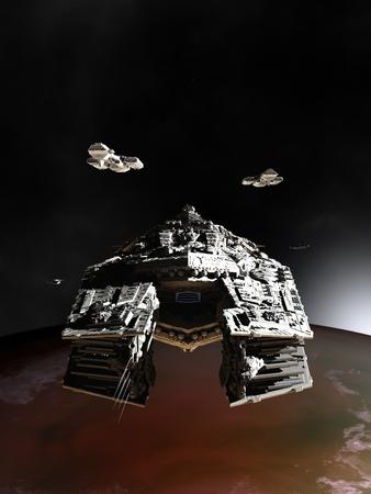 Science fiction illustratie van ruimteschepen in een baan rond een buitenaardse planeet 3d digitaal teruggegeven illustratie