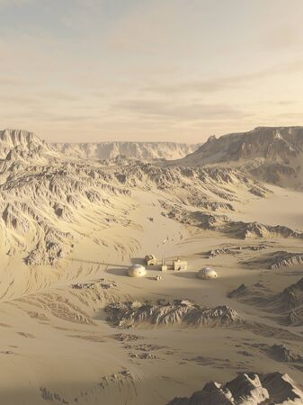 fiction: Science fiction illustration of a research post on an alien desert planet 3d digitally rendered illustration