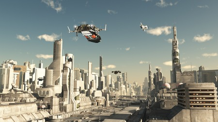 Science fiction illustration of a scout ship making a final approach to landing in a future city 3d digitally rendered illustration