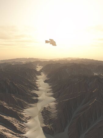 canyon: Science fiction illustration of a spaceship flying over a canyon on a desert planet 3d digitally rendered illustration
