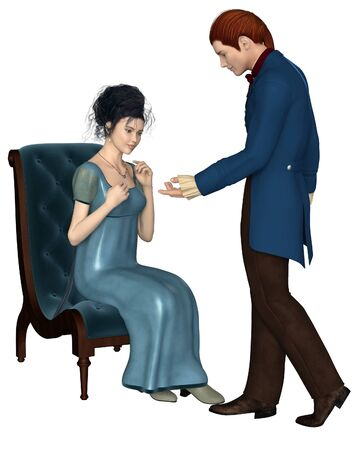 Illustration of a regency period late 18th to early 19th century man wearing a blue frock coat and woman wearing a blue dress sitting on a velvet chair 3d digitally rendered illustration