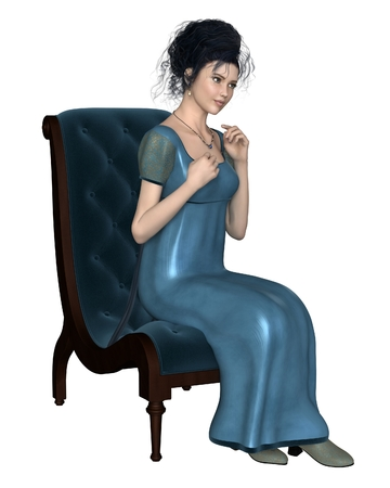Illustration of a regency period late 18th to early 19th century woman wearing a blue dress sitting on a velvet chair 3d digitally rendered illustration