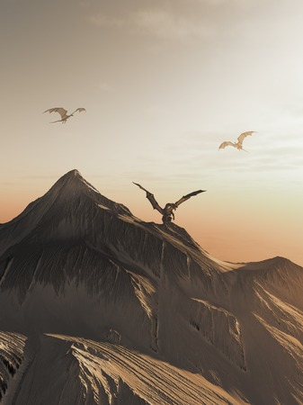 flying: Fantasy illustration of dragons flying around a snowy mountain peak at sunset 3d digitally rendered illustration