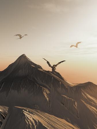 dragones: Ilustración de la fantasía de los dragones que vuelan alrededor de un pico de la montaña cubierto de nieve al atardecer 3d rindió la ilustración digital Foto de archivo