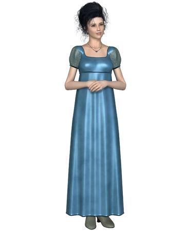 19 世紀初頭の女性両手で立っている青いドレスを着て後半 18 折り 3 d デジタル リージェンシー期間の図表示の図 写真素材